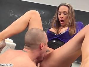 My horny sex teacher Chanel Preston fucks me in the classroom