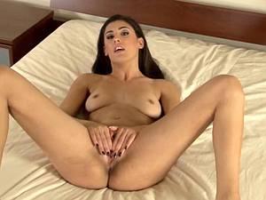 Sexy brunette creaming herself