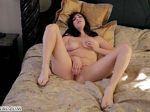 Sexy brunette with big natural tits fingering her pussy
