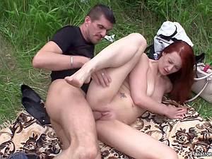 Outdoor sex with slutty redhead