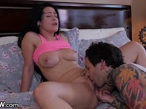 The perfect natural tits of Katrina bounce as she rides cock