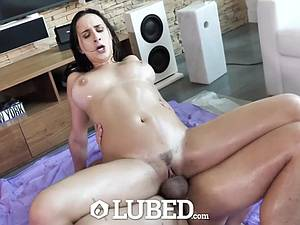 Big titty Ashley gets her lubed up cunt destroyed
