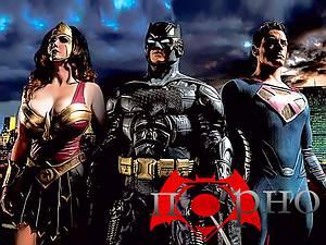 Superheroes battle. Dark Knight Rises, Man of Steel and Amazon Diana