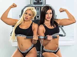 Horny athletic girls Adriana Chechik And Luna Star with wet pussies getting fucked in the gym