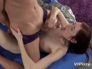 Skinny Kattie lets him pee on her pussy