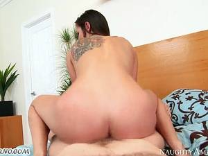 Slim brunette Rilynn Rae riding big cock