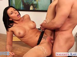 Naughty Rachel Starr horny for cock at the office