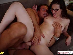 Casey Calvert in glasses gets licked and fucked in a car