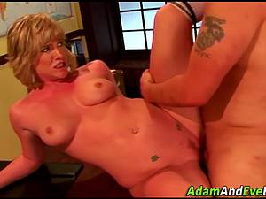 Blonde Naomi rides and swallows