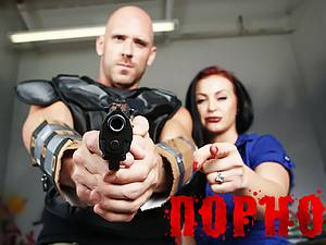 Brave Johnny Sins rescue busty blonde from the zombies