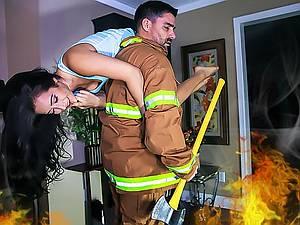 Brave fireman saved and fucked hot chick Eva Lovia
