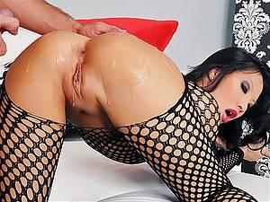 Slutty Asian slut Asa Akira gets assfucked deep