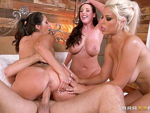 Lucky dude gets gangbanged by horny MILFs