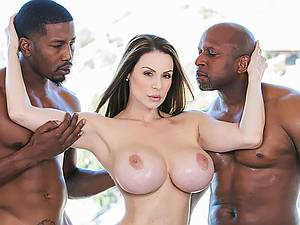 Adult beautiful woman Kendra Lust with big boobs takes two black cock in her hole